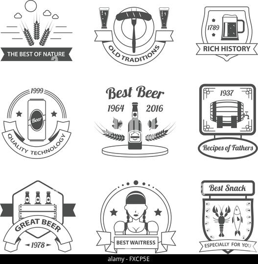 Beer Label Set - Stock Image