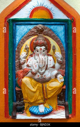 Hindu Temple detail, Candolim, Goa, India - Stock Image