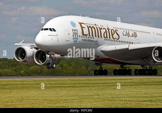 A6-EEC Emirates Airbus A380-800 Expo 2020 Dubi UAE Manchester Airport england uk departure rotation - Stock Image