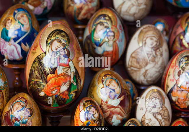 Painted religious eggs for sale, St. Petersburg, Russia, Europe - Stock Image