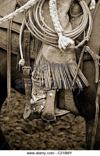 Cowboy on Horse Holding Lariat - Stock Image