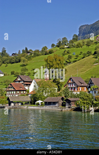 Lake Lucerne luzern Switzerland swiss alpine village chalets - Stock Image