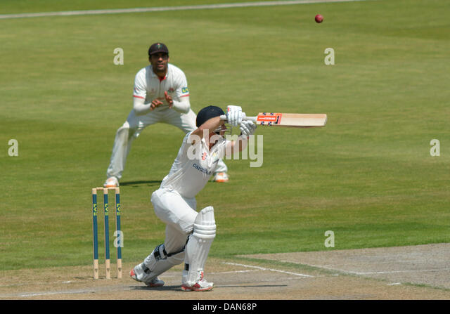 Manchester, UK. 16th July, 2013. Mark Wallace (Glamorgan) edges the ball over the slip fielder on the second day - Stock Image