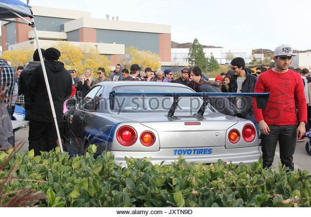 Paul Walker memorial. Paul Walker's 'Fast and Furious' cars attract many fans at the memorial at the - Stock Image
