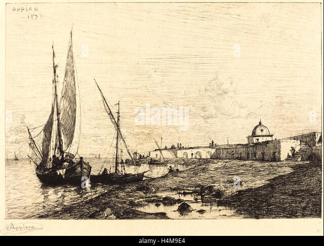 Adolphe Appian, French (1818-1898), Port of San Remo, 1878, etching in black - Stock-Bilder