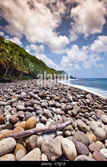 Beach at Jungle Bay Resort, Dominica, Lesser Antilles - Stock-Bilder