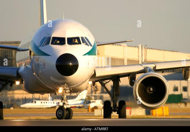 Close-up of passenger airplane - Stock Image
