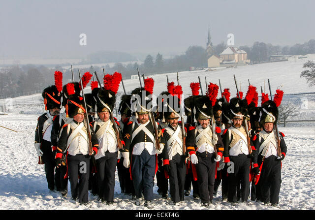 French troops Tvarozna village in the background Reenactment of the Battle of Austerlitz (1805) - Stock Image