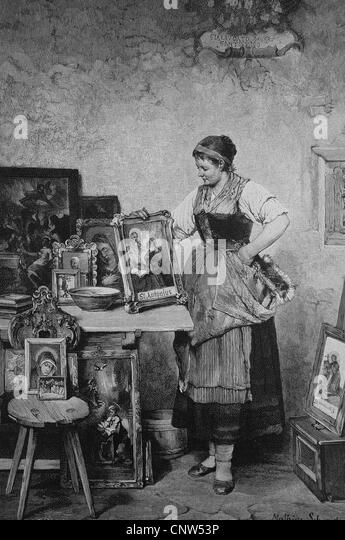 Patrons, woman with images of saints, historical engraving, 1880 - Stock Image