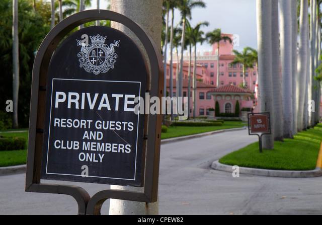 Boca Raton Florida East Camino Real Boca Raton Resort and & Club entrance sign private - Stock Image