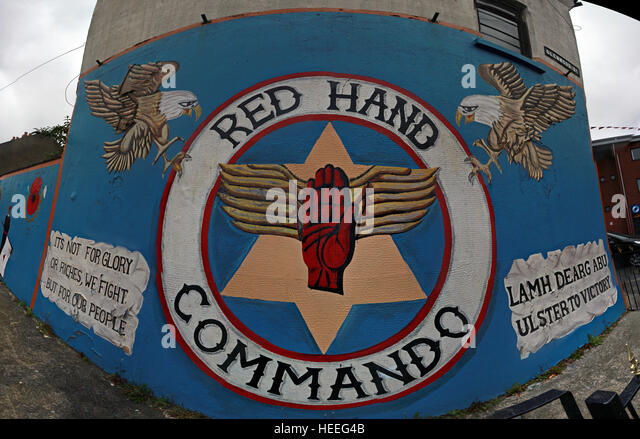 Belfast Unionist, Loyalist Murals,Red Hand commando,Glenwood St - Stock Image