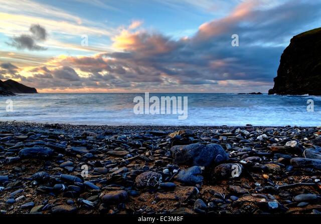 Sunset at Crackington Haven, North Cornwall - Stock Image