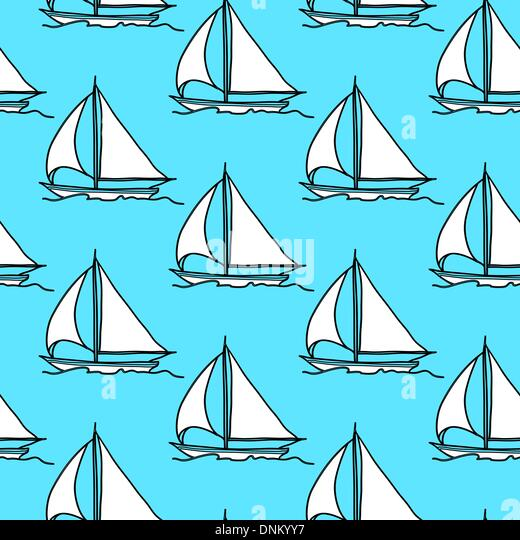 seamless wallpaper with a sailboat on the ocean waves - Stock-Bilder