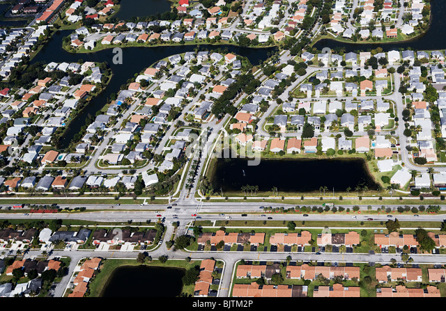 Aerial view of houses on florida east coast - Stock Image