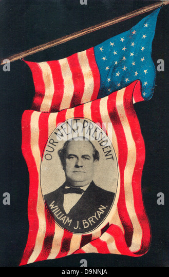 Our Next President - William Jennings Bryan - 1908 card supporting the Democratic Candidate - Stock Image