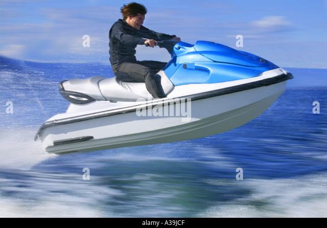 Man on jet ski - Stock Image