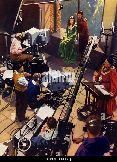 BBC Television studio, early 1950s. Camera crew, boom microphones, actors in Shakespearian drama.  Illustration - Stock Image