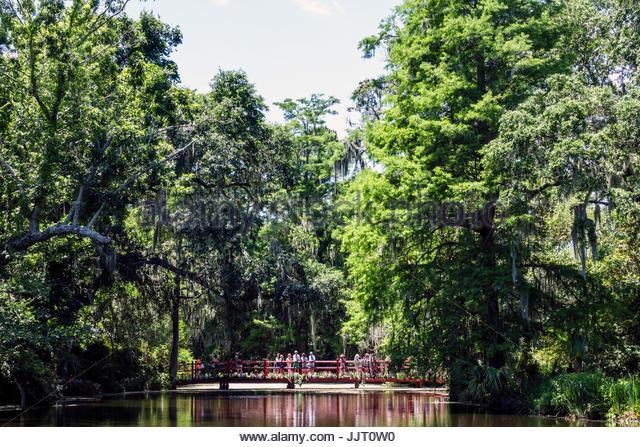 South Carolina Charleston SC Magnolia Plantation and Gardens Antebellum Cypress Lake bridge - Stock Image