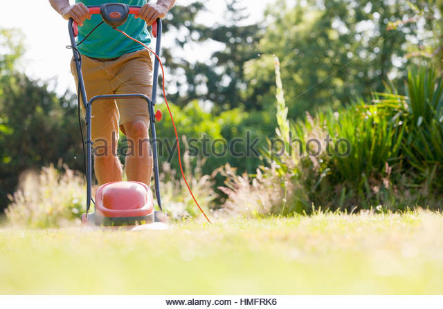 Man pushing lawn mower, mowing grass in sunny summer yard - Stock-Bilder