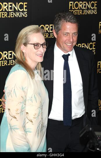 New York, USA. 9th August, 2016. Meryl Streep and  Hugh Grant at  the Florence Foster Jenkins New York Premiere - Stock-Bilder
