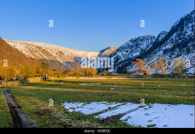 Sunset on a farm in Borrowdale in the English Lake District with contrasting warm orange trees against cold blue - Stock Image