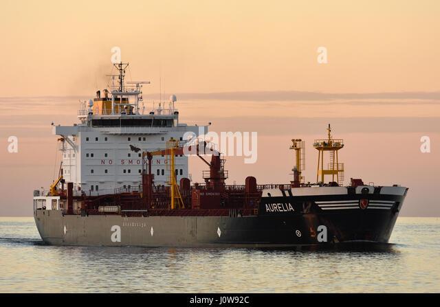 Tanker Aurelia in Sunset - Stock Image