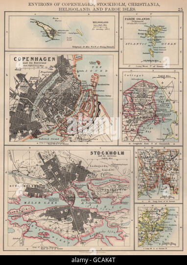 SCANDINAVIAN CITIES. Copenhagen Stockholm Oslo Christiania.JOHNSTON, 1897 map - Stock Image