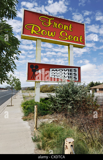 Front Row Seat Cinema/Movies Sign, Route 66 USA - Stock Image