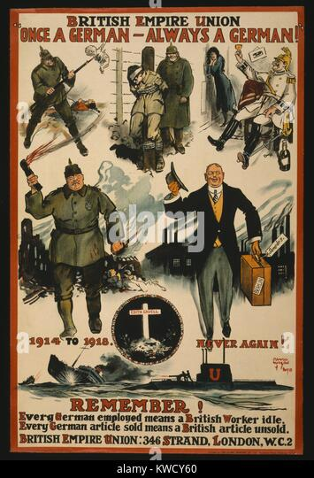 Virulent anti-German World War 1 poster by the British Empire Union, 1918. Formerly named the Anti-German Union, - Stock Image