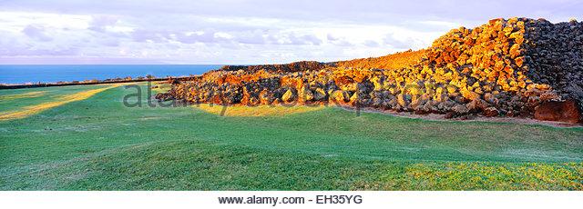 0860-1000B  Copyright: George H. H. Huey  Mo'okini Heiau , a 'luakini heiau', or human sacrifice temple - Stock Image