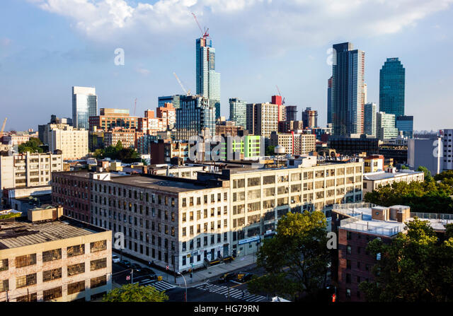 New York New York City NYC Queens Long Island City view city skyline skyscrapers - Stock Image