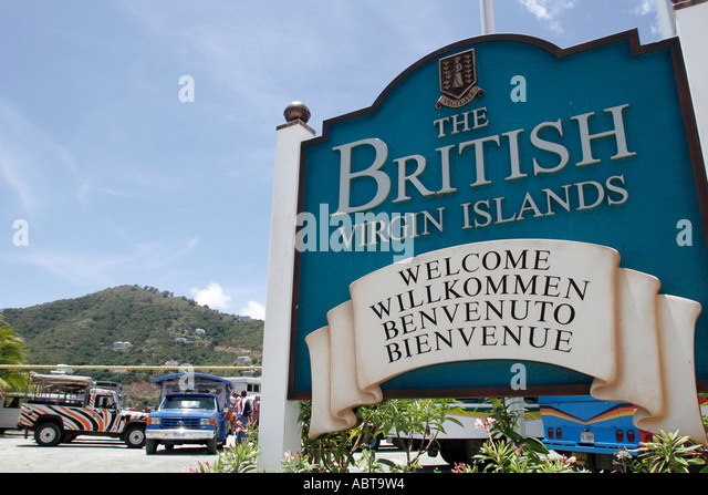 BVI Tortola Road Town sign welcome - Stock Image