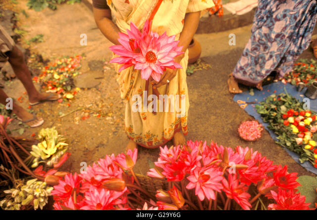 Lotus flower sellers outside of Sri Aurobindo Ashram. Pondicherry, Tamil Nadu,India. - Stock Image