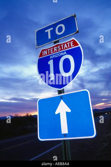 Interstate Highway 10 sign Califonia USA - Stock Image