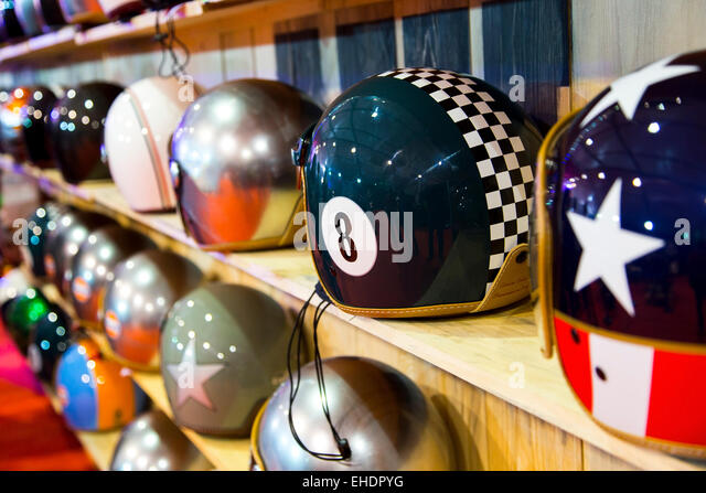 Stylish helmets on display - Stock-Bilder