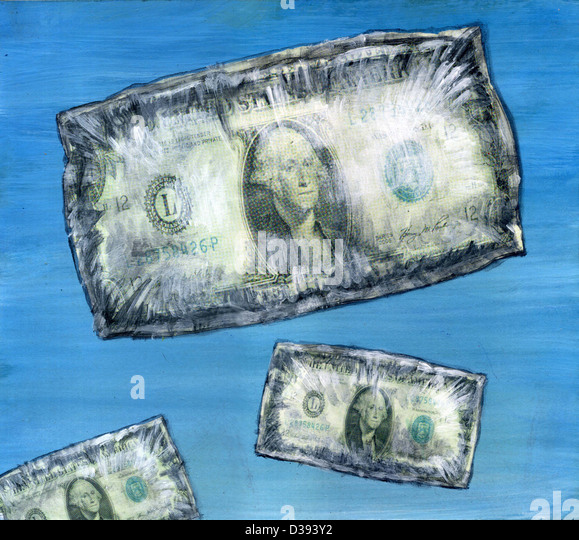 Us dollar note - Concept of rising prices - Stock Image