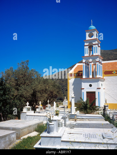 church and cemetery at Keramoti  West Crete Greece Europe.  Photo by Willy Matheisl - Stock Image