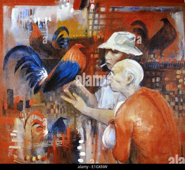 Edgar Doctor, Sabungero, 1992.  Oil on canvas - Stock Image