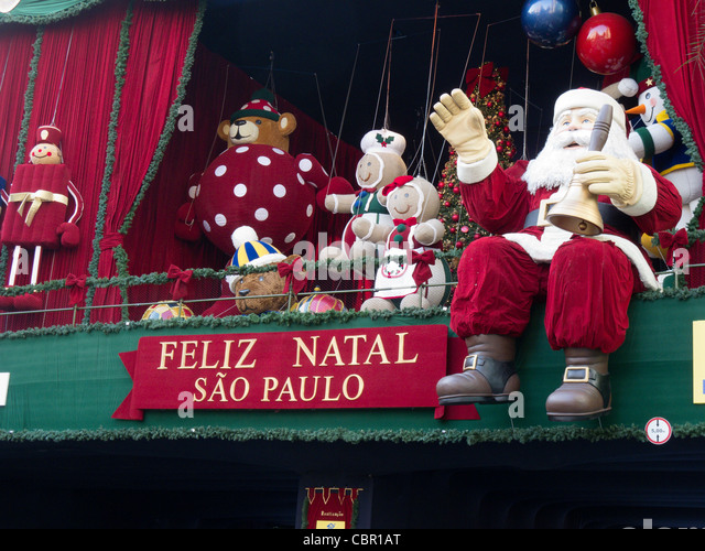 Christmas decoration. Paulista Avenue, Sao Paulo, Brazil - Stock Image