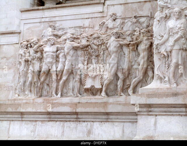 detail of a statue at the Monumento Nazionale a Vittorio Emanuele II or 'Il Vittoriano' is a monument in - Stock Image