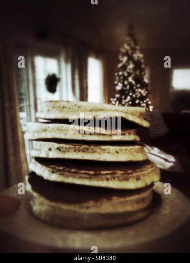 Pancakes on Christmas morning are a family tradition going back generations. Simple. Nostalgic. Delicious. - Stock-Bilder