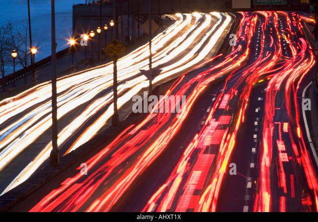 Blurred motion shot of traffic on large highway - Stock Image