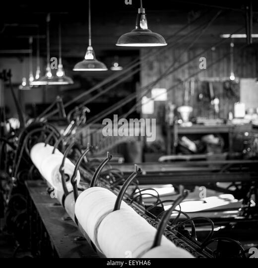 Cotton reels in a cotton mill - Stock-Bilder