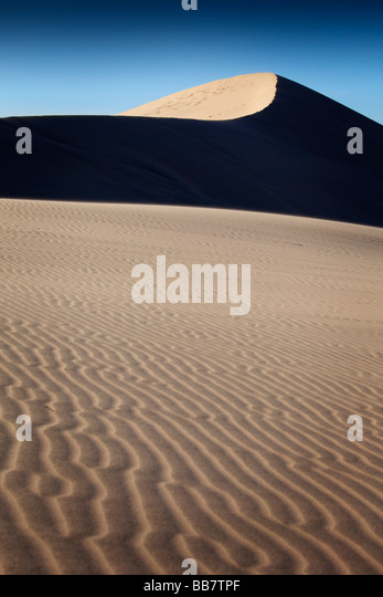 Sand patterns on The Eureka Dunes in Death Valley National Park in California USA - Stock Image
