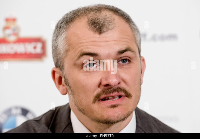 Wednesday. 28th Apr, 2015. Karlovy Vary International Film Festival Artistic director Karel Och attends a news conference - Stock-Bilder