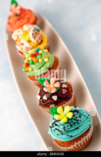 Assorted cupcakes Recipe available - Stock Image