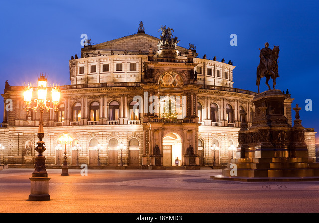 Semperoper Opera House Dresden Saxony Germany - Stock Image