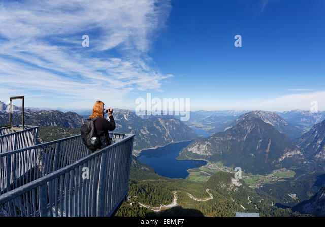 Five Fingers viewing platform of the Dachstein Mountains, Lake Hallstatt and Obertraun, UNESCO World Heritage Site - Stock Image