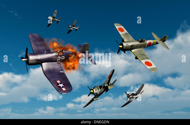 American F4U Corsairs & Japanese Nakajima Ki-84 Hayata Fighters Fighting Each Other. - Stock Image