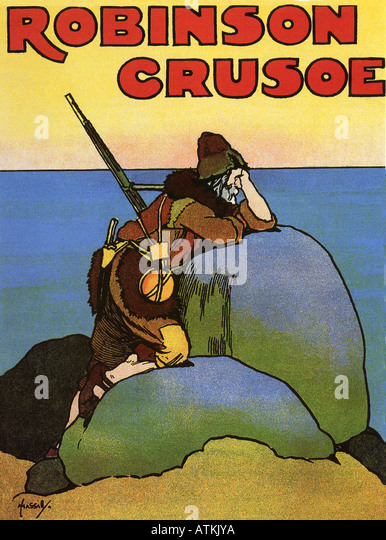 ROBINSON CRUSOE by Daniel Defoe - Cover of the 1908 edition designed by John Hassall - Stock Image